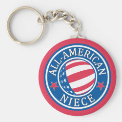Basic Button Keychain with All-American Niece design