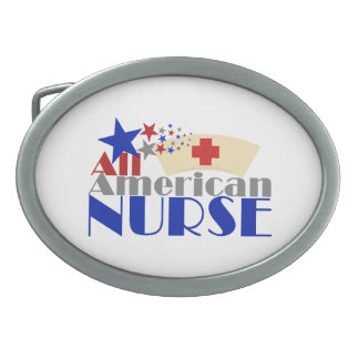 All American Nurse Oval Belt Buckle
