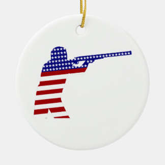 All-American Rifleman/Shooting Contender Double-Sided Ceramic Round Christmas Ornament