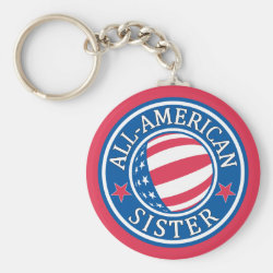 Basic Button Keychain with All-American Sister design