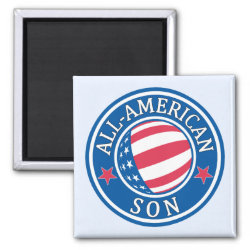 Square Magnet with All-American Son design