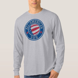 Men's Basic Long Sleeve T-Shirt with All-American Son design