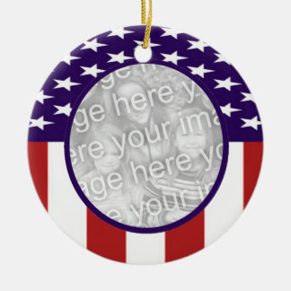 All-American Stars and Stripes Custom Photo Christmas Ornament