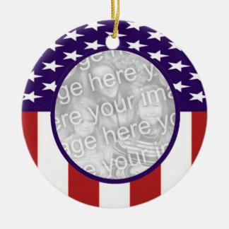 All-American Stars and Stripes Custom Photo Christmas Ornament