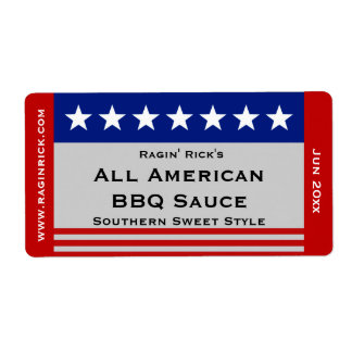 All American Stars and Stripes Food Container Shipping Label