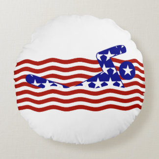 All-American Swimmer Round Pillow
