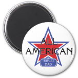 All American Triplet Dad 2 Inch Round Magnet