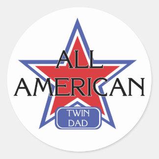 All American Twin Dad Classic Round Sticker