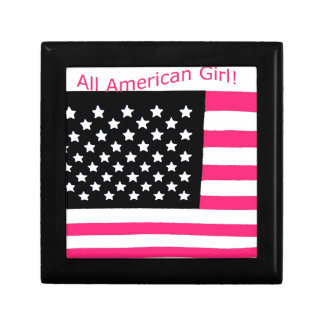 All American USA Flag for Girls Trinket Boxes
