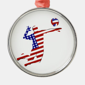 All-American Volleyball Player Metal Ornament