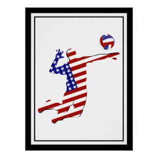 All-American Volleyball Player Poster