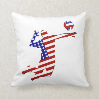 All-American Volleyball Player Throw Pillow