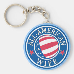 Basic Button Keychain with All-American Wife design