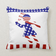All-American Womens Tennis Player Throw Pillow