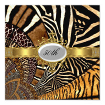 All Animal Skin Look 50th Birthday Party Invitation