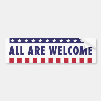 All Are Welcome - Stars and Stripes Bumper Sticker