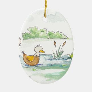 All Around the Barnyard - Ducks by Serena Bowman Ceramic Ornament