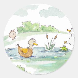 All Around the Barnyard - Ducks by Serena Bowman Classic Round Sticker