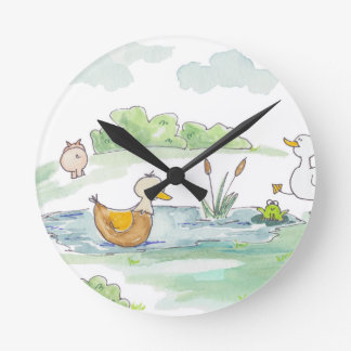 All Around the Barnyard - Ducks by Serena Bowman Wall Clock