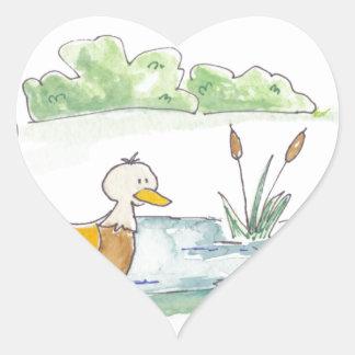 All Around the Barnyard - Ducks by Serena Bowman Heart Sticker