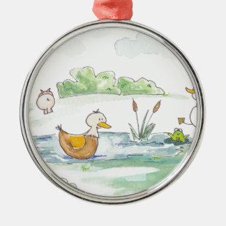 All Around the Barnyard - Ducks by Serena Bowman Metal Ornament