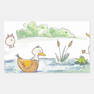 All Around the Barnyard - Ducks by Serena Bowman Rectangular Sticker