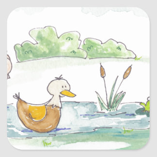 All Around the Barnyard - Ducks by Serena Bowman Square Sticker