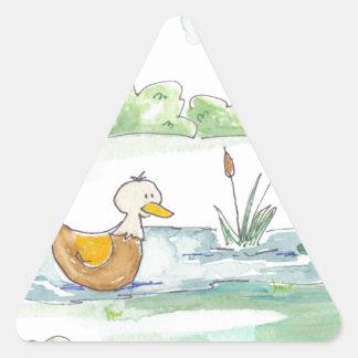 All Around the Barnyard - Ducks by Serena Bowman Triangle Sticker