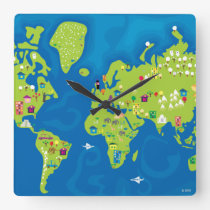 All Around the World Square Wall Clock