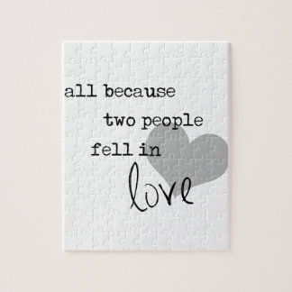 all because two people fell in love modern simple jigsaw puzzle