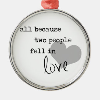 all because two people fell in love modern simple metal ornament