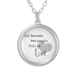 all because two people fell in love modern simple silver plated necklace