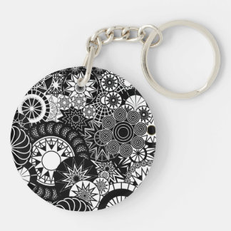 All Black and White Keychain