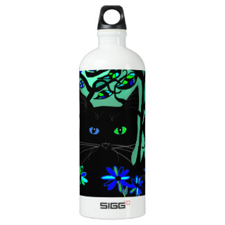 all black cat and her kittens on teal background.t aluminum water bottle