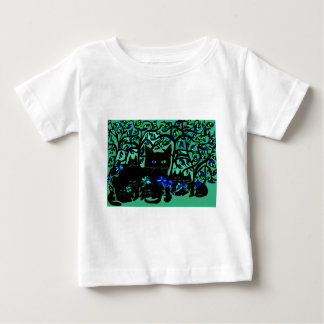 all black cat and her kittens on teal background.t baby T-Shirt