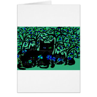 all black cat and her kittens on teal background.t card