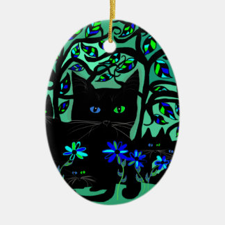 all black cat and her kittens on teal background.t ceramic ornament