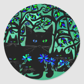 all black cat and her kittens on teal background.t classic round sticker