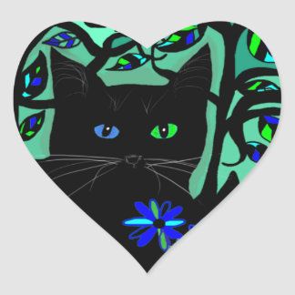 all black cat and her kittens on teal background.t heart sticker