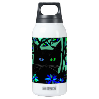all black cat and her kittens on teal background.t insulated water bottle