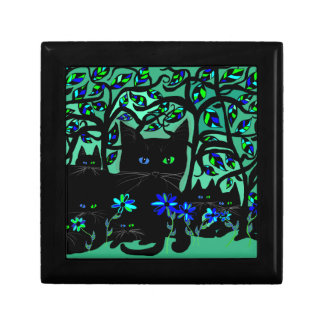 all black cat and her kittens on teal background.t keepsake box