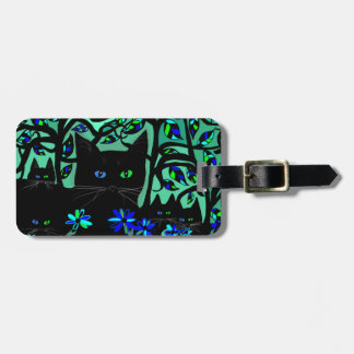 all black cat and her kittens on teal background.t luggage tag