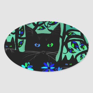 all black cat and her kittens on teal background.t oval sticker