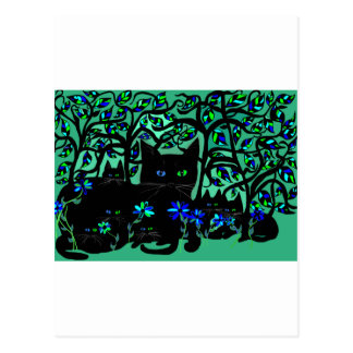 all black cat and her kittens on teal background.t postcard