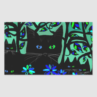 all black cat and her kittens on teal background.t rectangular sticker