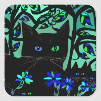 all black cat and her kittens on teal background.t square sticker