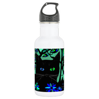 all black cat and her kittens on teal background.t stainless steel water bottle