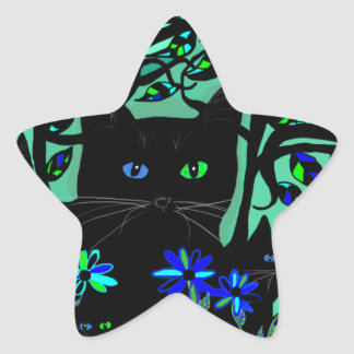 all black cat and her kittens on teal background.t star sticker