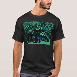 all black cat and her kittens on teal background.t T-Shirt