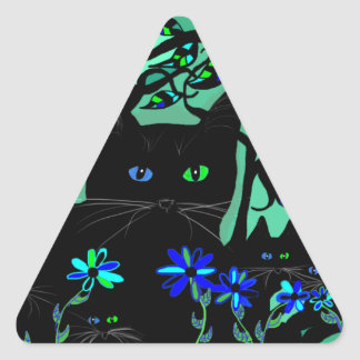 all black cat and her kittens on teal background.t triangle sticker